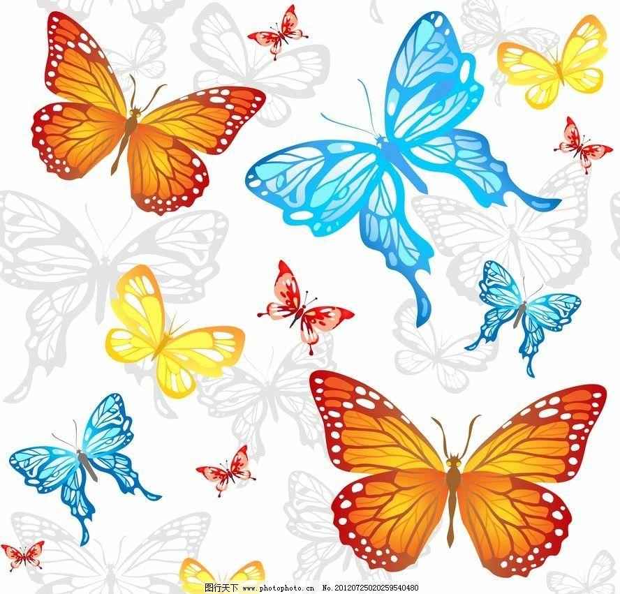 飞动 浪漫 动感 绚丽 多彩 七彩 手绘 时尚 梦幻 背景 底纹 矢量 蝴蝶