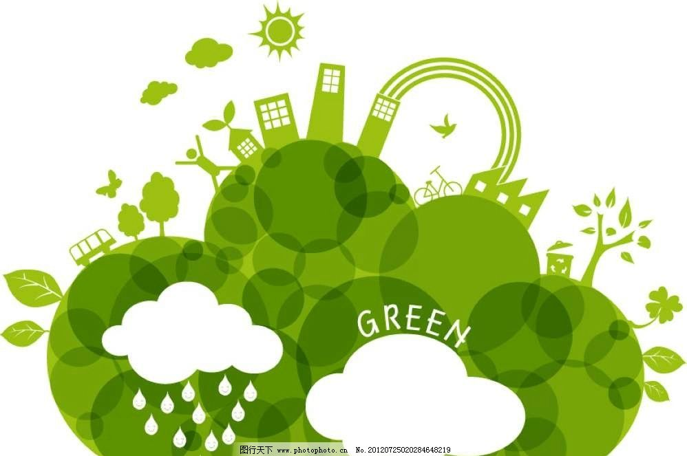 白云绿色背景图片