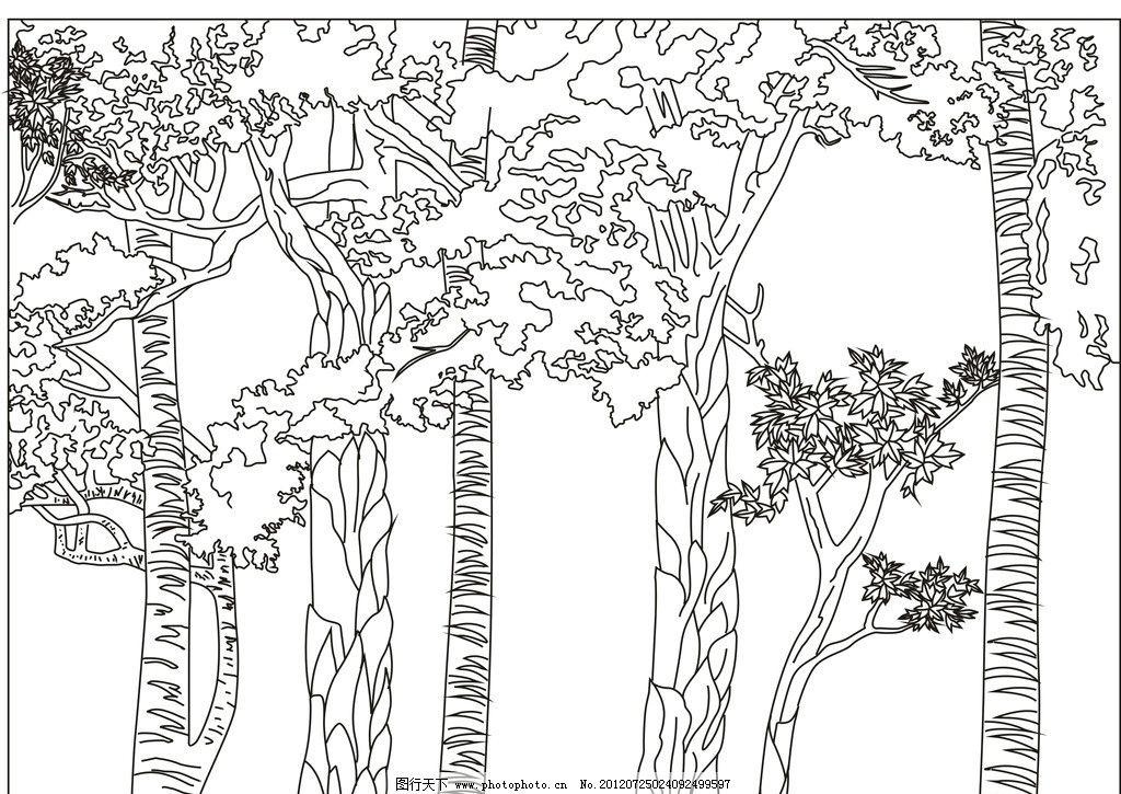 树林雕刻图图片