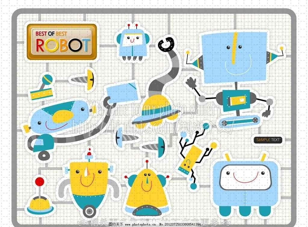机器人 卡通机器人 可爱机器人 收音机 机械 电路图 矢量素材 其他