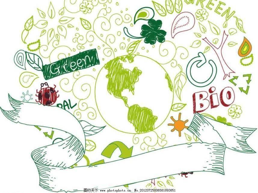 地球卡通环保背景图片