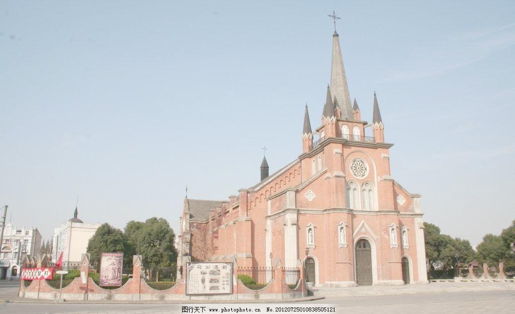 欧式风格的红砖教堂图片