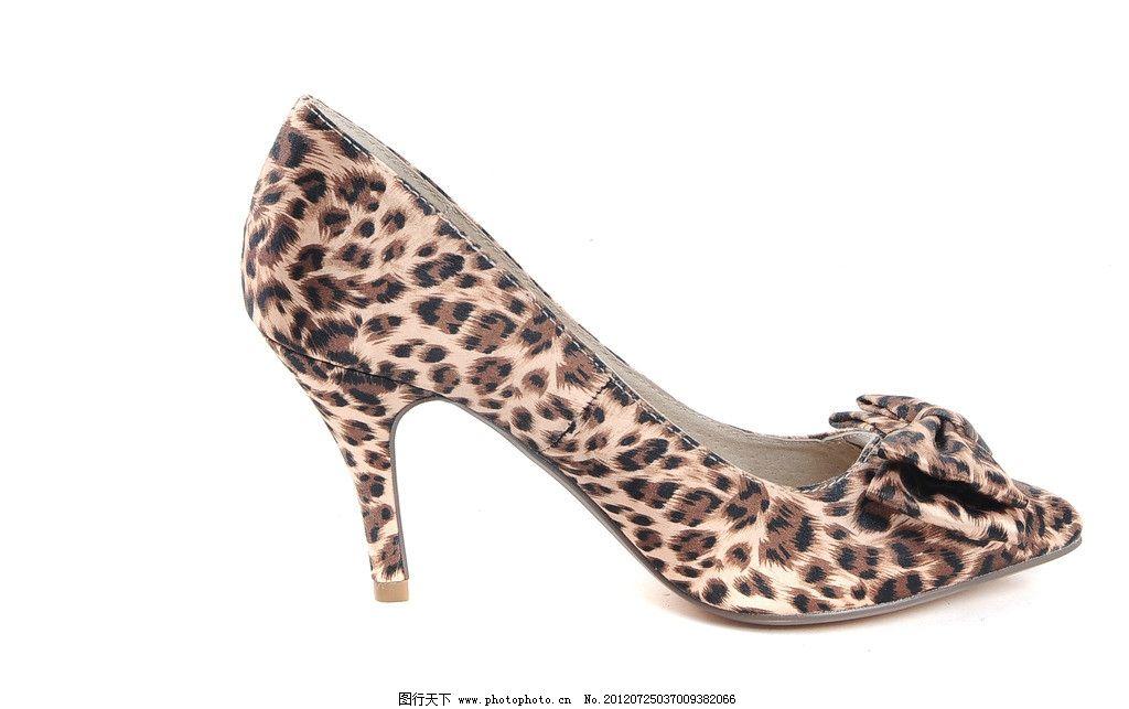 豹纹高跟鞋 豹纹鞋 豹纹细跟高跟鞋 侧面图 鞋子 女鞋 时尚鞋