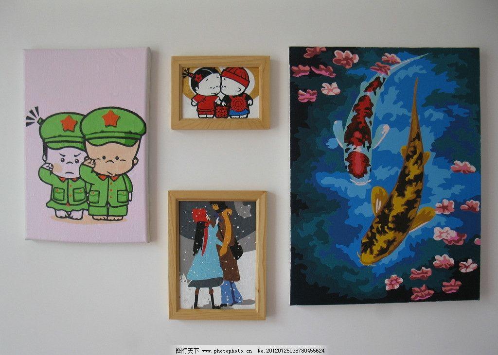 背景 油画 背景墙 数字油画 小屁孩 金鱼 相框 雪中情侣 墙壁