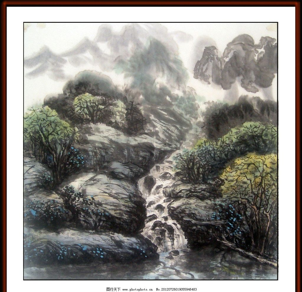 春岩瀑泉音 山涧 溪流 树林 远山 百忍写意山水画 绘画书法 文化艺术