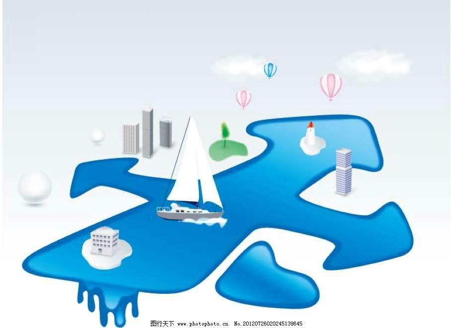 帆船背景 船只 海洋 海水 热气球 楼房 房屋 线条 花纹 条纹图片