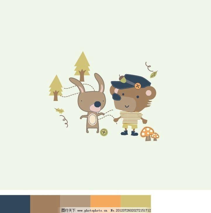 小熊小兔图案 童装图案 印花图案 卡通图案 可爱图案 矢量素材 其他