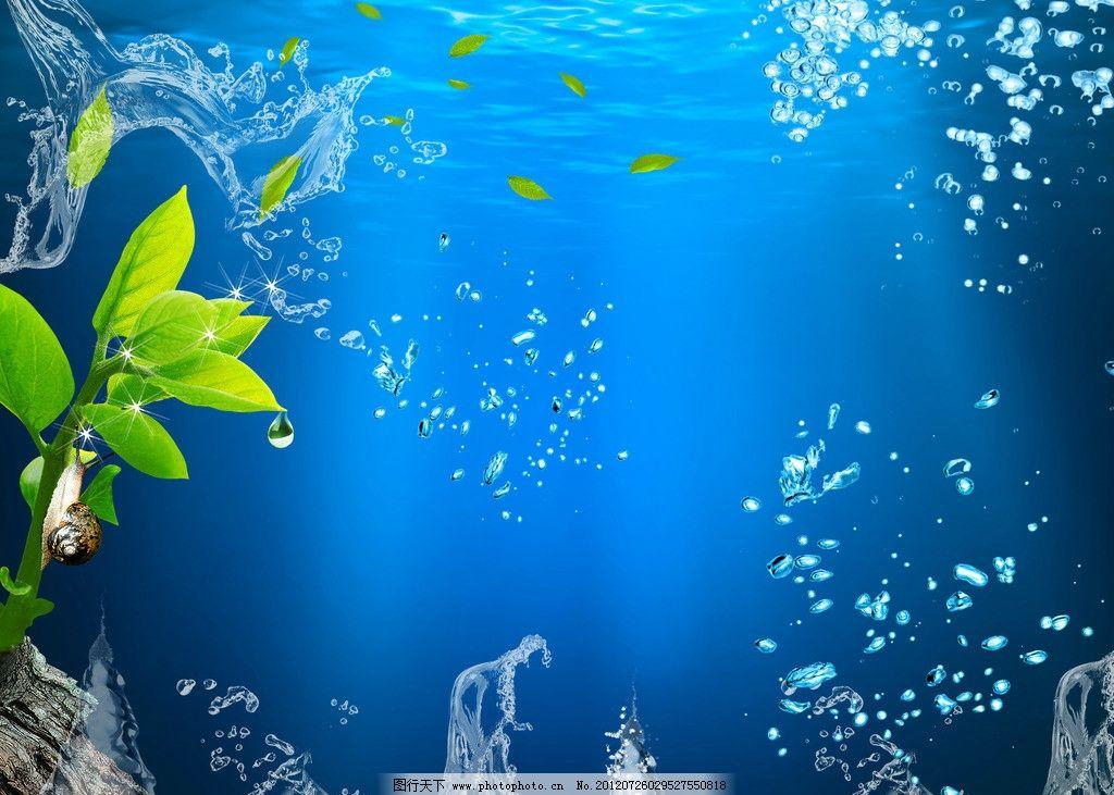 海底世界 水 水花 绿叶