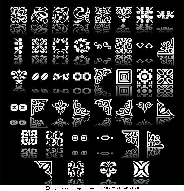 古典黑白边框花纹免费下载 边框 古典 花纹 欧式 实用 矢量花边 矢量