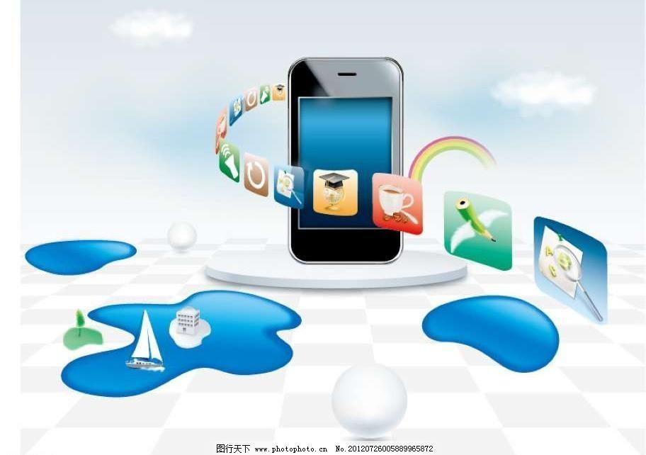 智能手机 iphone 苹果 热气球 小河 小船 帆船 立体 3d 城市 图标