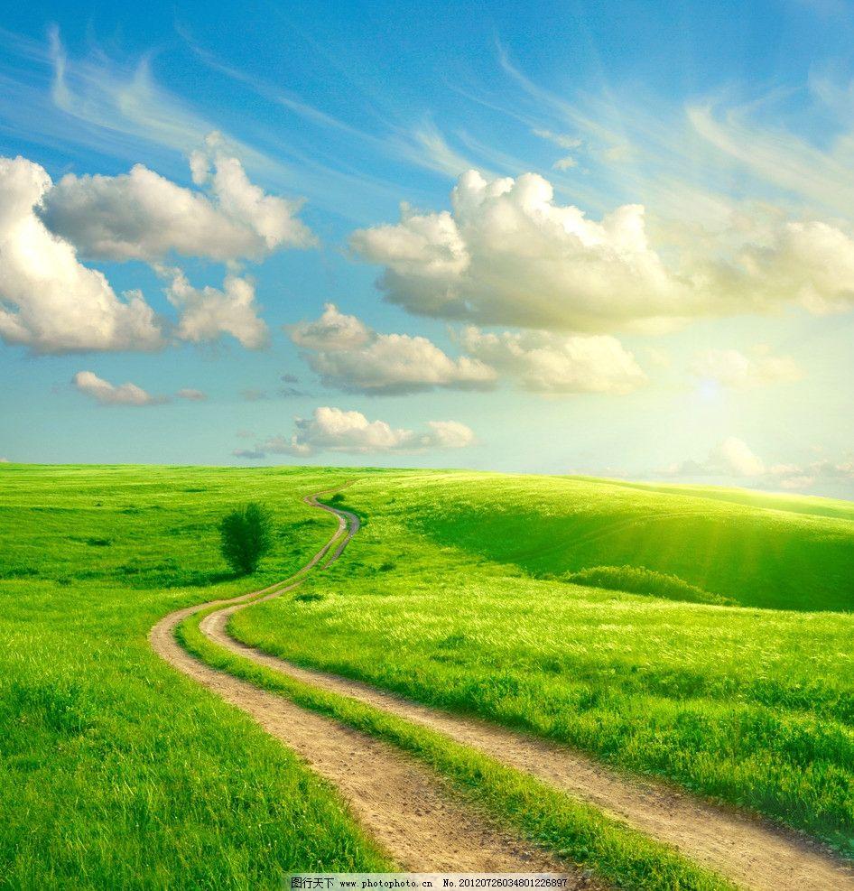 蓝天白云草原道路图片
