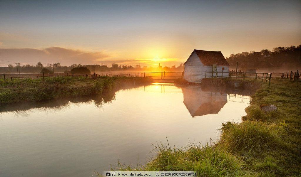 乡间 夕阳 乡间小路 池塘 小房子 乡村 自然风景 自然景观 摄影 300