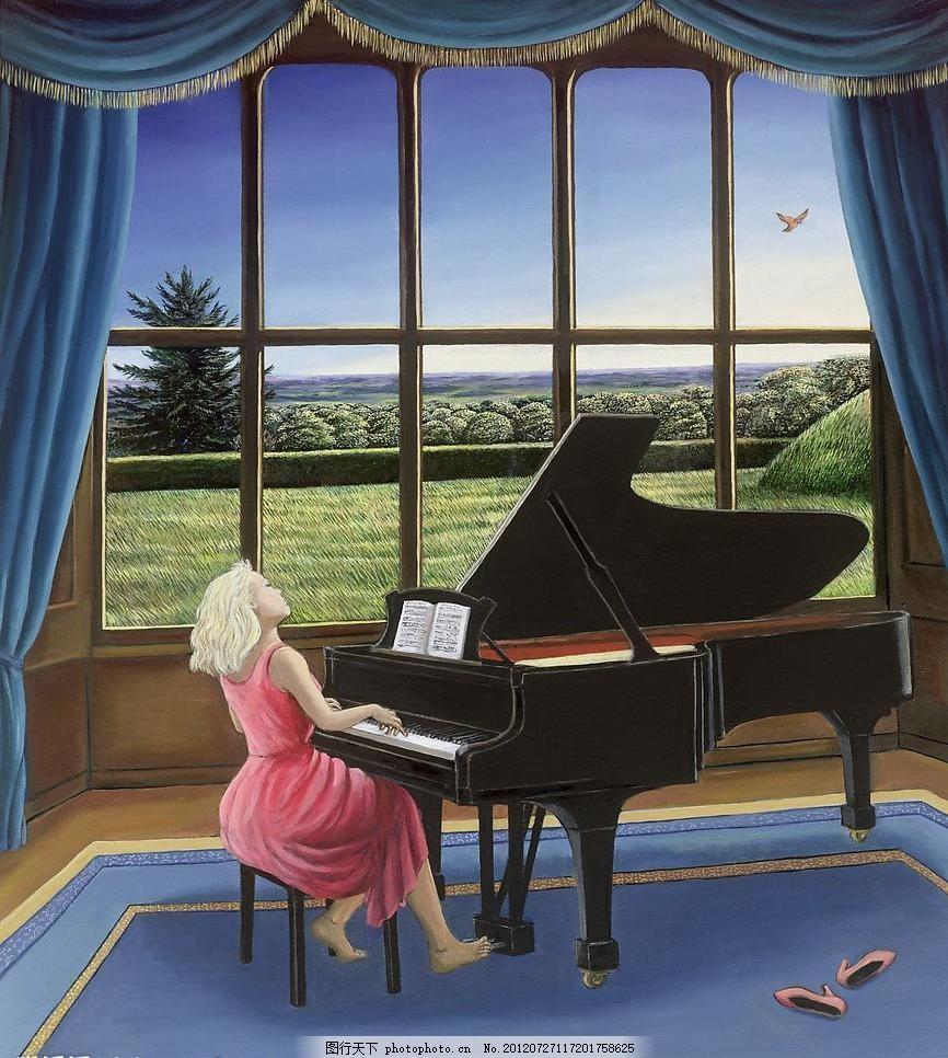 油画 弹钢琴的女孩 文化艺术 绘画书法 黑色