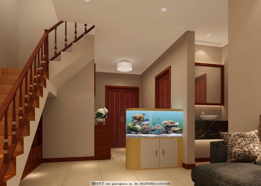 家装设计图 家装 楼梯 鱼缸 灯 地板 天花板 木门        3d图 3d设计