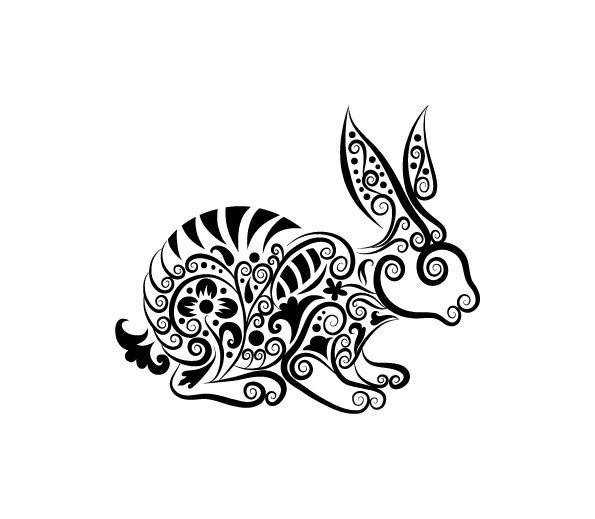 花纹 剪影 矢量素材 手绘 图案 图形 兔子 纹身 线稿 动物 花纹 剪影