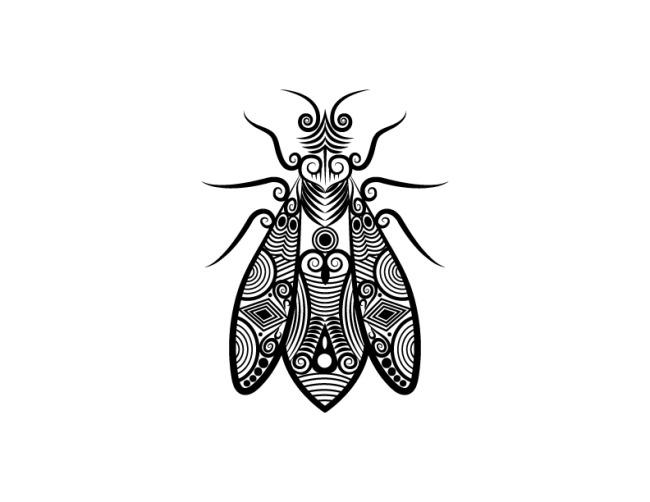 几何线条动物纹身手稿