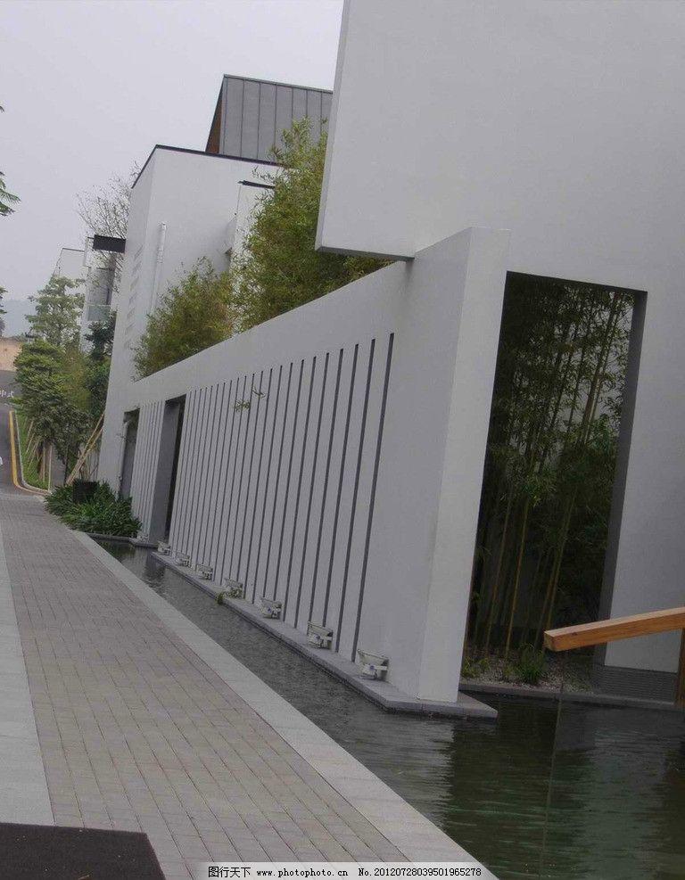 万科第五园 建筑 中式建筑 围墙 水景小区建筑 中式别墅 中式会所景观图片