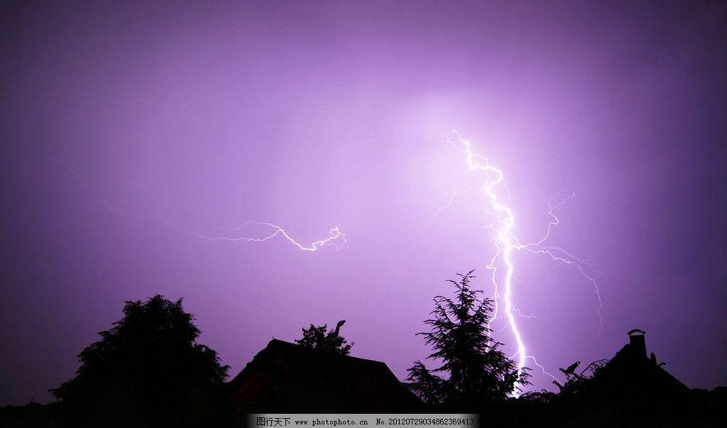 闪电 霹雳 树木 黑影 自然 自然现象 景观 自然风景 自然景观 摄影