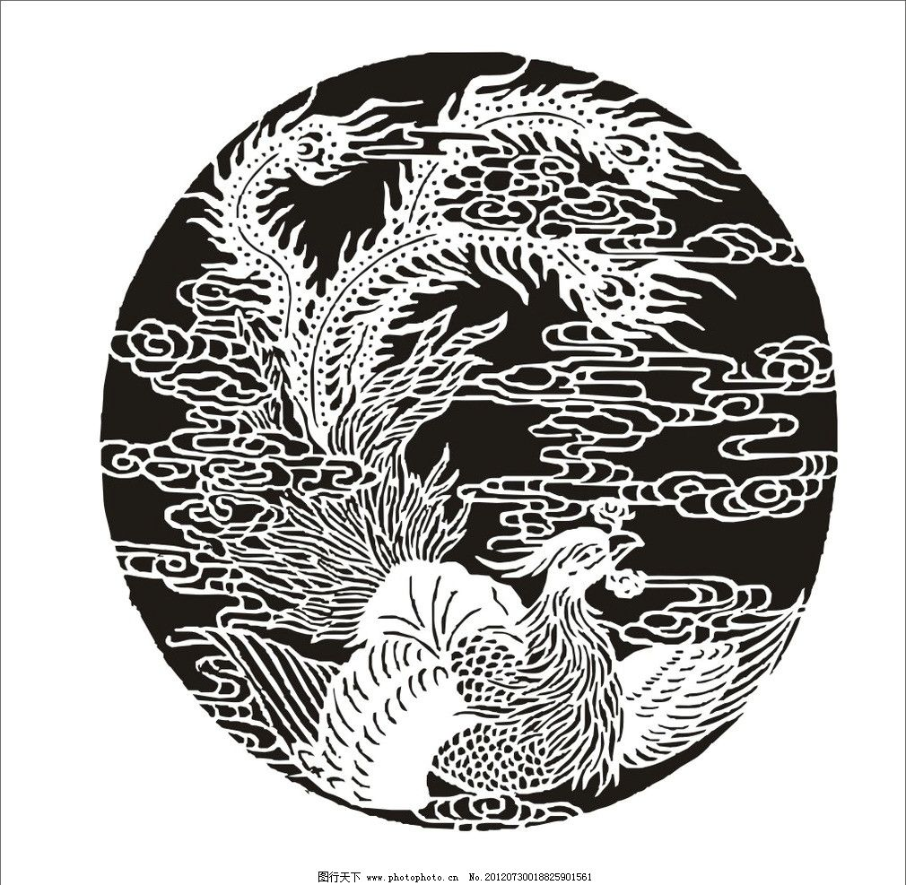 圆形凤凰适合纹样图片