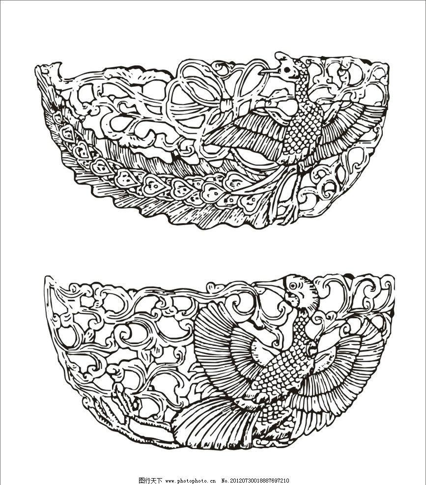 清代朝服孔雀纹 孔雀纹 花纹 花卉纹 孔雀 半圆形 清代 传统纹样 传统图片