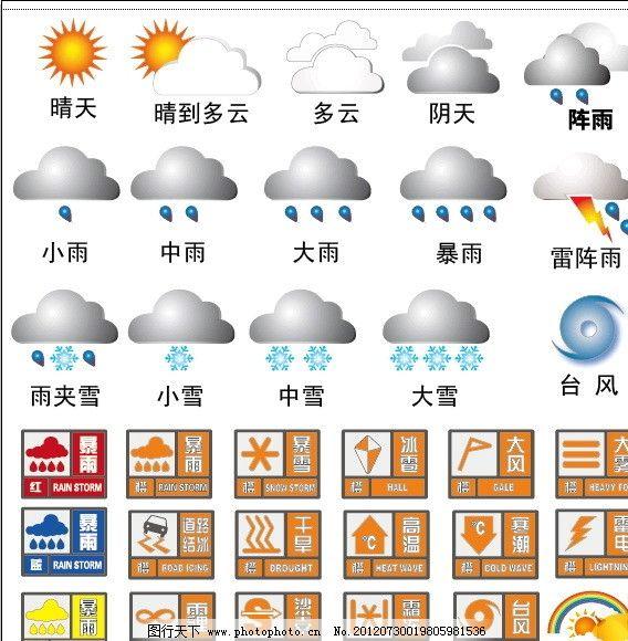 天气预报及预警标识图片_公共标识标志_标志图标_图行