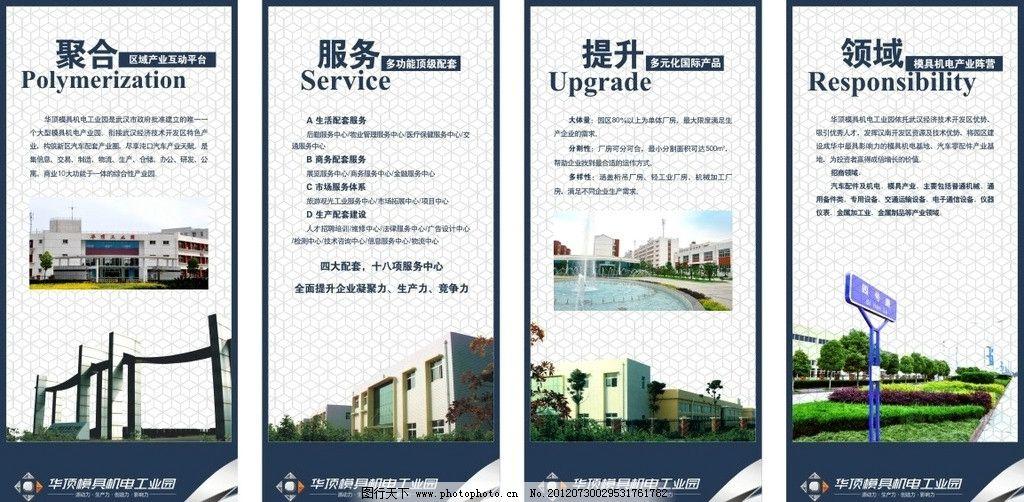 工业园展板 工业园 华顶 汉南 周年版 厂房 牌楼 地产设计 广告设计