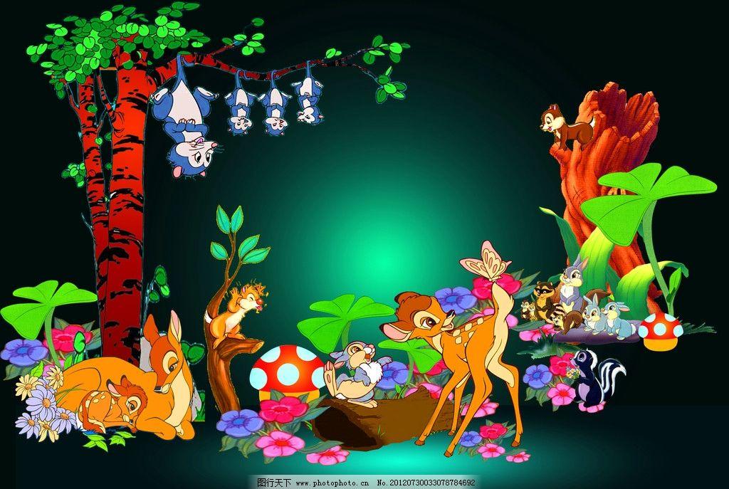 小鹿斑比图片,卡通动物 树木 树枝 树叶 源文件-图行