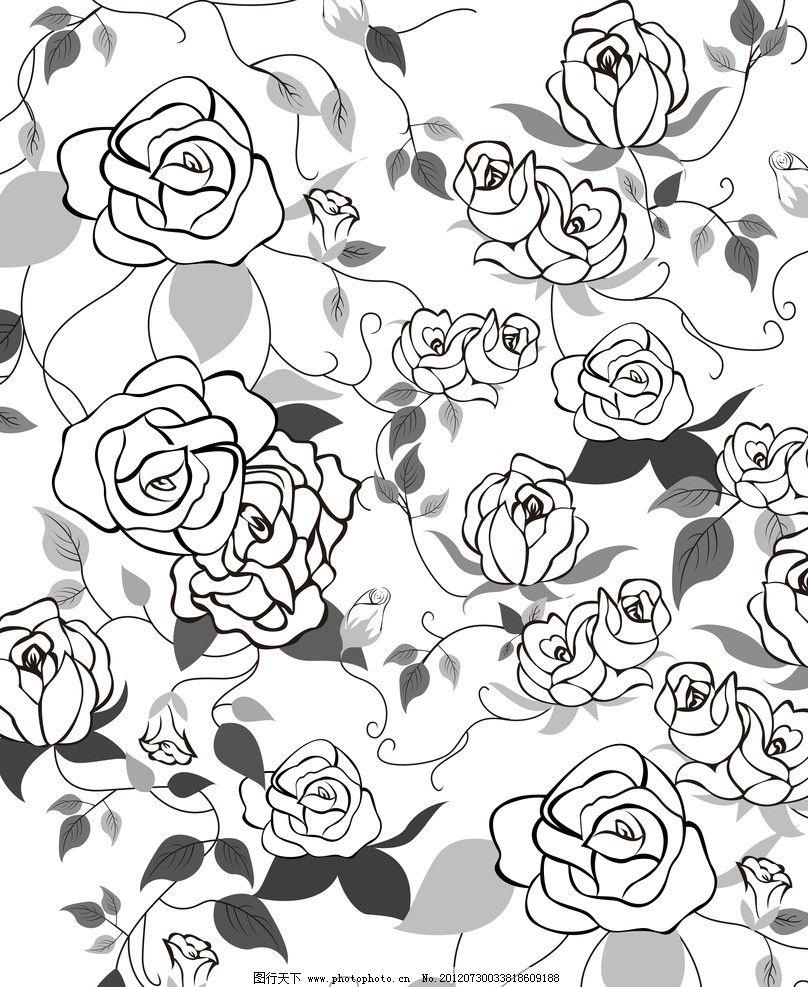手绘线条玫瑰底纹移门图图片