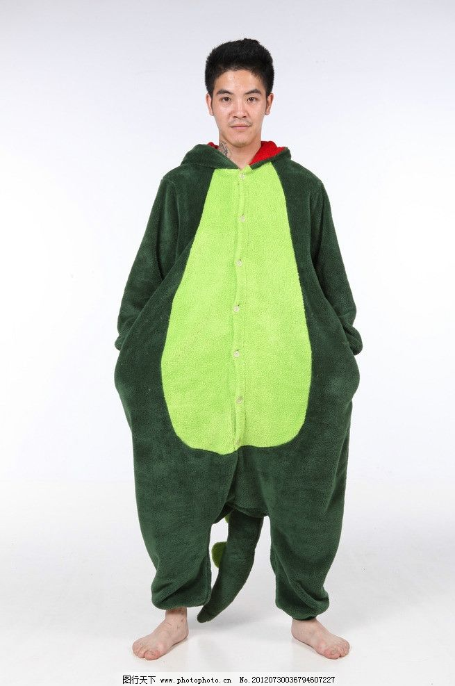 童心男人 绿色 恐龙居家套装 可爱 大肚子的男人 光脚的男人 长尾巴
