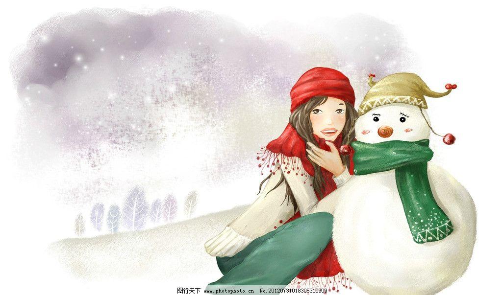 冬天 冬季风景图 雪人 小女孩 雪花 动漫人物 动漫动画 设计 300dpi