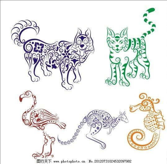 手绘动物花纹图片