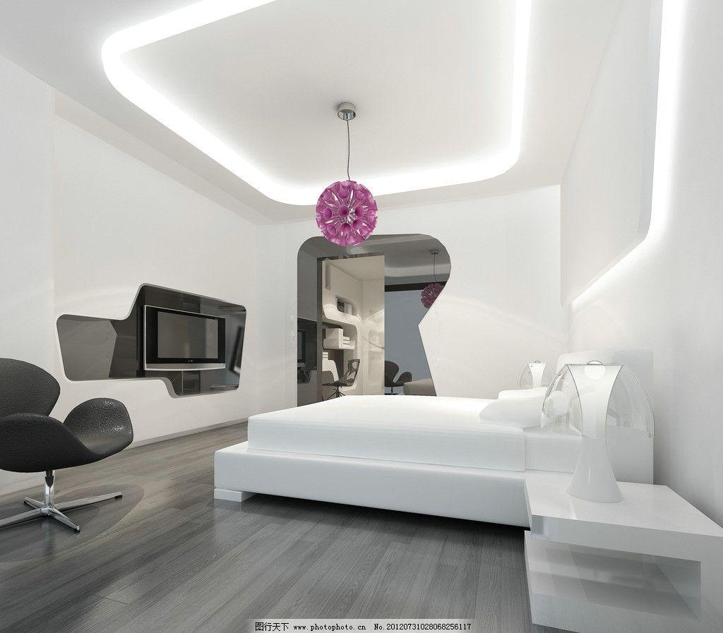卧室效果图      复式 公寓 宾馆 套间 电视 柜子 沙发 地毯 吊灯 无