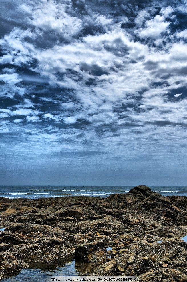 日照海边 山东 海水 沙滩 石头 蓝天 白云 风光 秀丽 美景