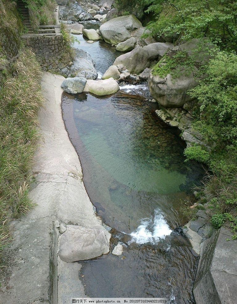 黄山脚下 黄山 小池 五彩 绿树 山水风景 自然景观 摄影 300dpi jpg