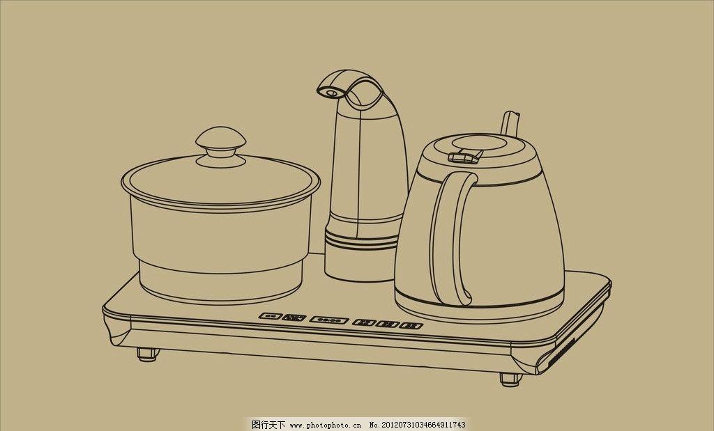 电茶炉 茶具 水壶 简笔画 外包 茶壶 电磁茶炉 线条 抽水壶 包装 餐饮