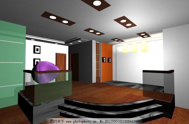 室内设计 室内设计图片免费下载 玻璃 木地板 室内模型 台阶 效果图