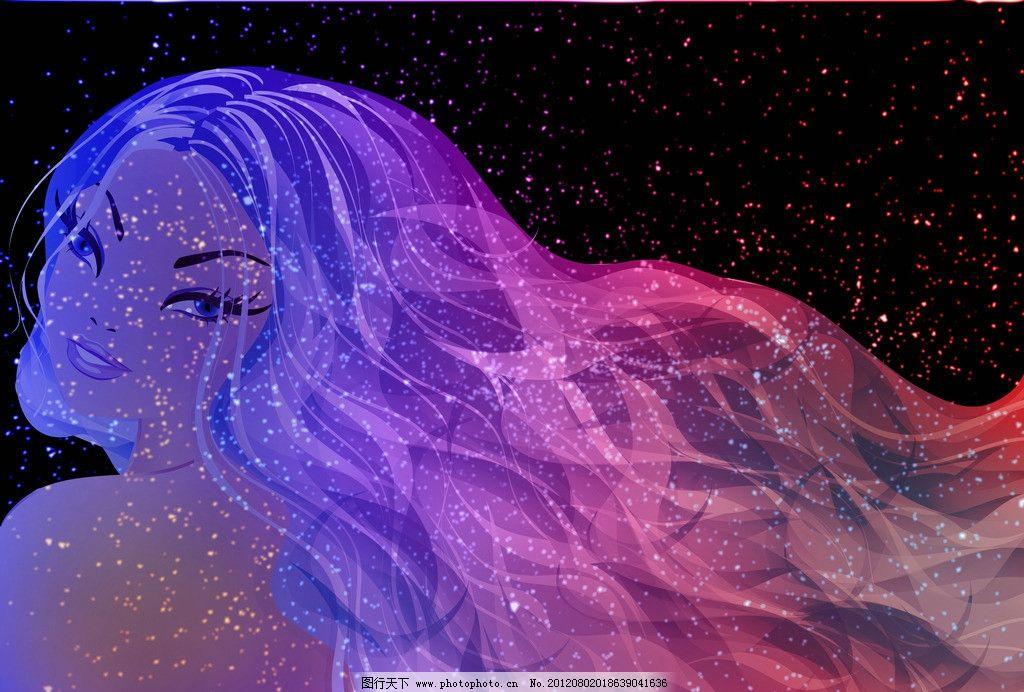 星空美女 美女 星光 卡通 手绘 艺术 夜空 星星 梦幻 长发 动漫 jpg
