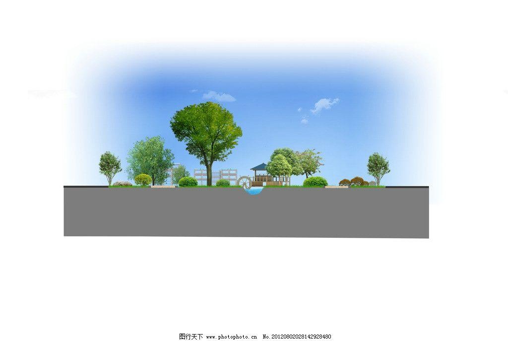 景观立面图 景观设计 树 蓝天 亭子 白云 环境设计 源文件 72dpi psd