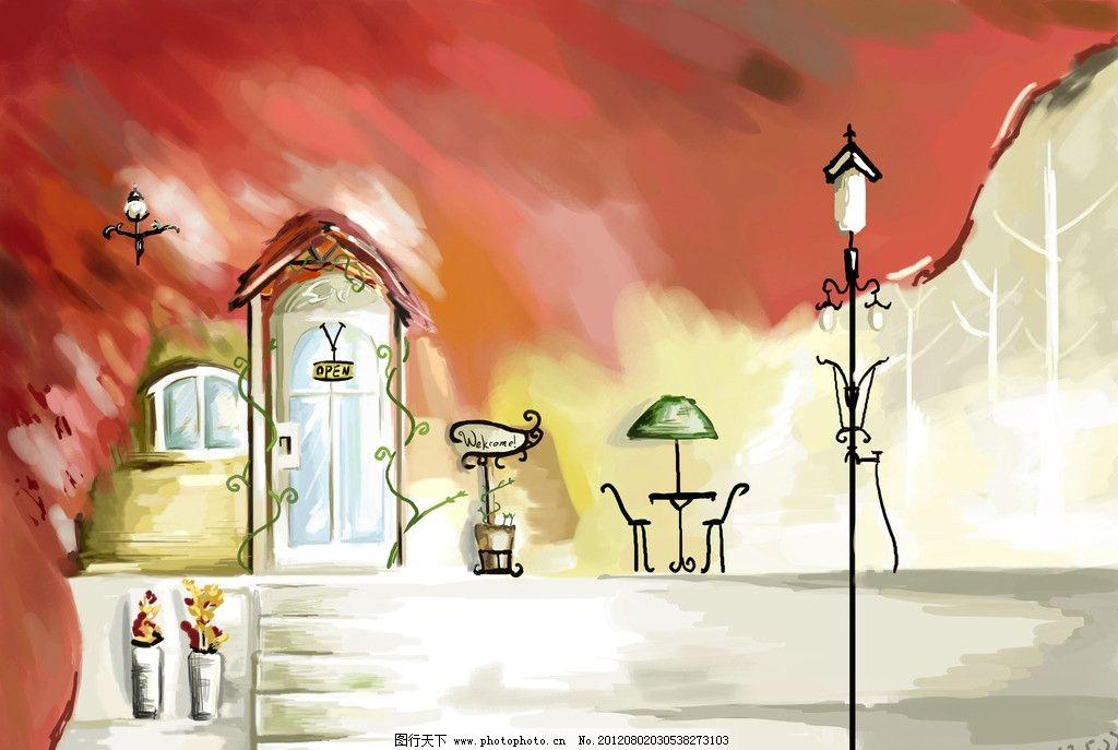 手绘桌面壁纸 插画 路灯 花瓶 小屋 桌子 椅子 桌面壁纸 风景漫画