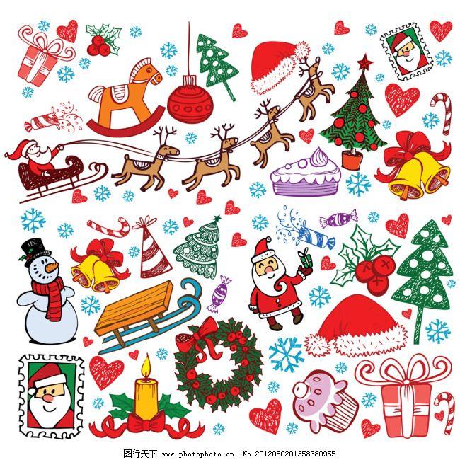 圣诞节上的各种元素 背景 插画 蛋糕 花圈 卡通 可爱 蜡烛 礼盒