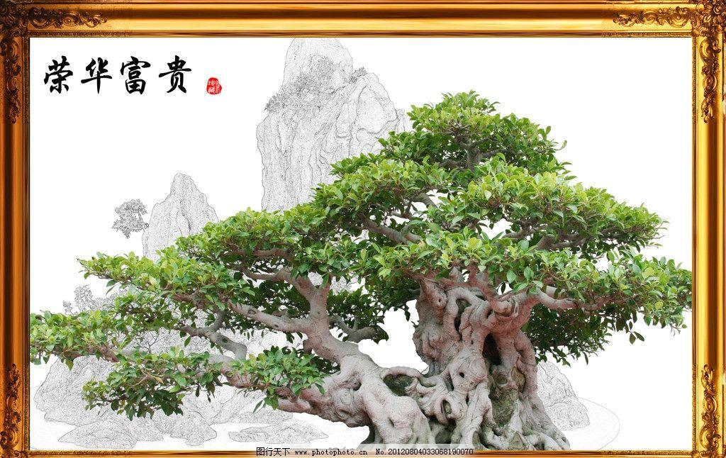 荣华富贵 富贵 榕树 盆景 花盆 铅笔画 画框 psd分层素材 源文件 300d
