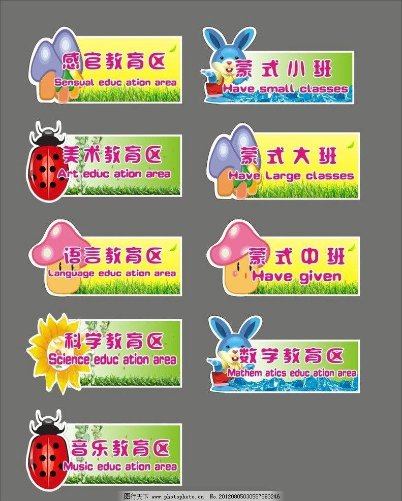 班排 幼儿园 班标 卡通 可爱 英文 蘑菇 兔子 太阳 矢量 小动物 卡通
