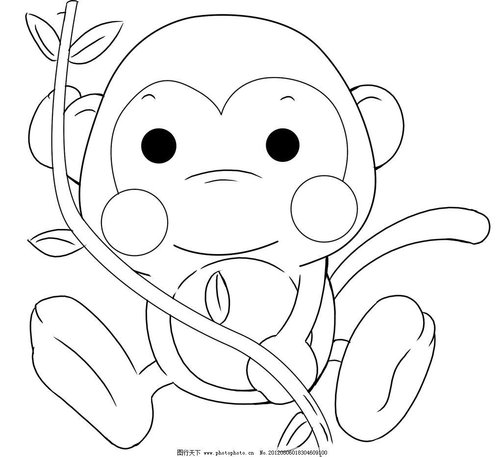 小猴子 猴子 线稿 动漫人物 动漫动画 设计 118dpi png