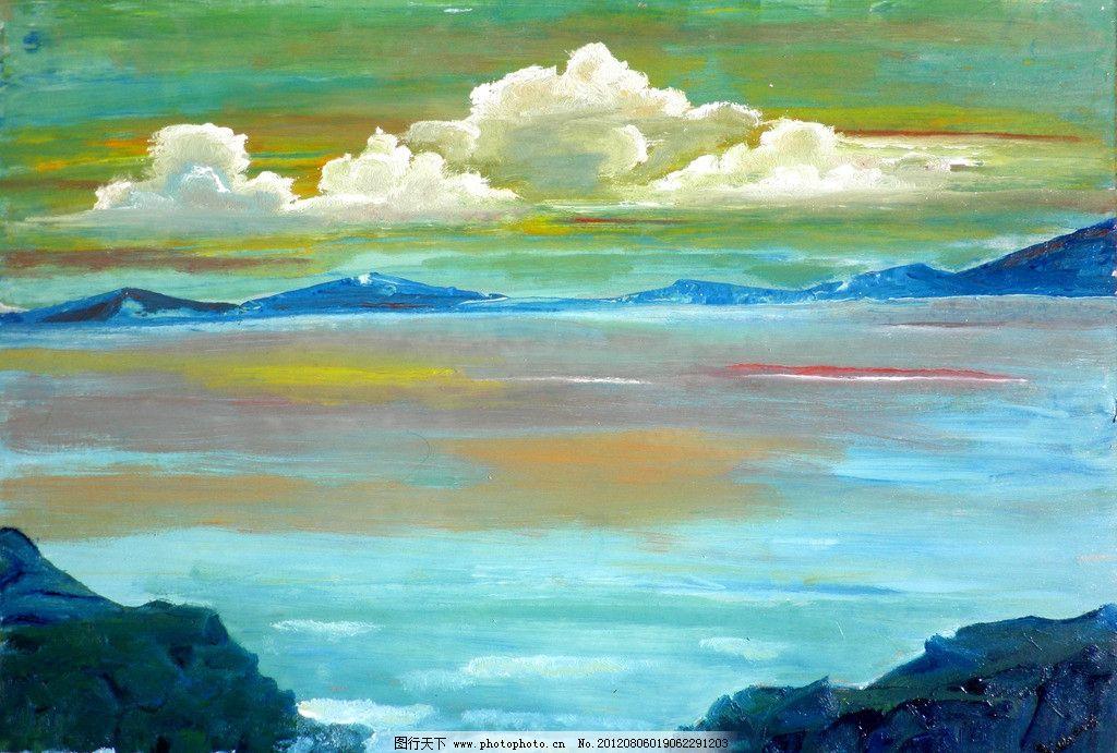 油画 海洋景色 油画风景 绘画 艺术 油画艺术 大海 海水 海岸图片