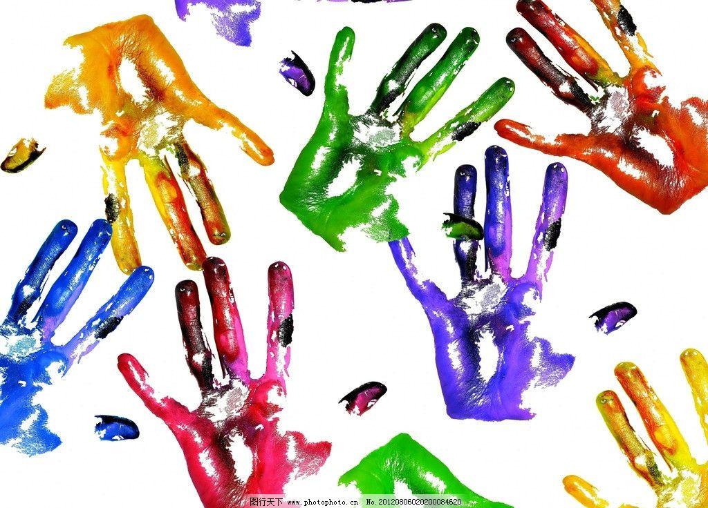 手印 掌印 五彩 七彩 彩色 设计图库 背景素材 背景底纹 底纹边框