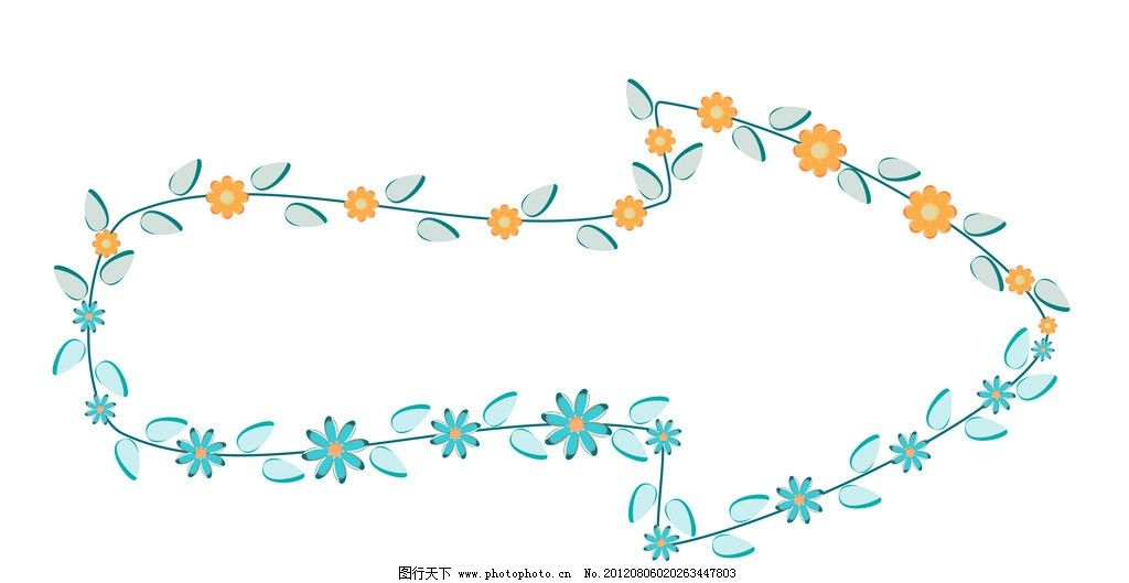 创意背景 鲜花 花朵 花瓣 绿叶 叶子 箭头 指向 背景 设计图库 背景图片