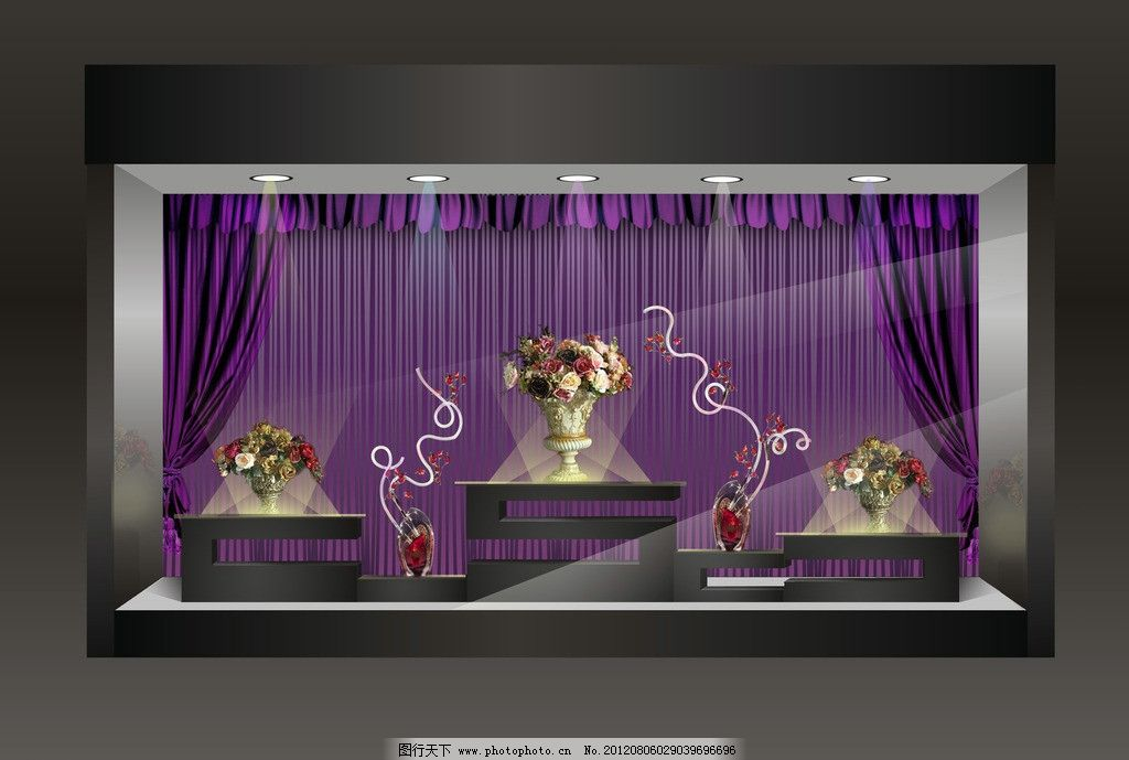橱窗设计 橱窗 花店 浪漫 时尚 尊贵 紫色 黑色 复古 欧式 幕布 其他