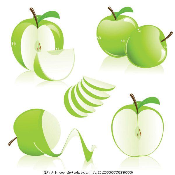 矢量素材切开的青苹果图片