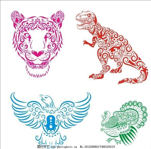 手绘动物 线稿 花纹 剪影 动物插画 图案 图形 刺青 纹身 线条