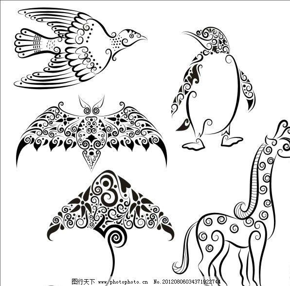 手绘动物 线稿 动物 花纹 动物插画 剪影 手绘 图案 图形 刺青 纹身